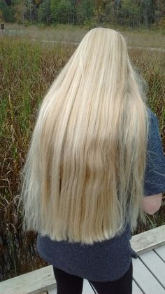 Freshly trimmed nearly super-long blonde hair of my girlfriend..