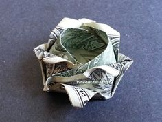 SMALL ROSE Money Origami  Dollar Bill Art  by VincentOrigamiArtist