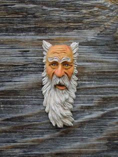 Wood Tree Spirit Carving Hill Billy Ooak Hobbit  Old Man Wizard Scott Longpre