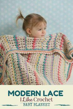 Lacy crochet baby blanket pattern