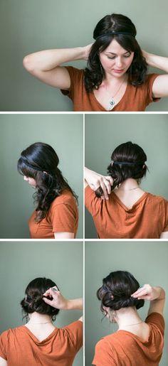 Idée Coiffure :    Description   comment réaliser un chignon facile et romantique à l\'aide d\'un headband    - #Coiffure madame.tn/...