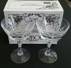 Crystal Champagne/Sherbet Glasses(2) WM Dalton Fully Leaded(24%)French Cherbourg #CherbourgWMDalton