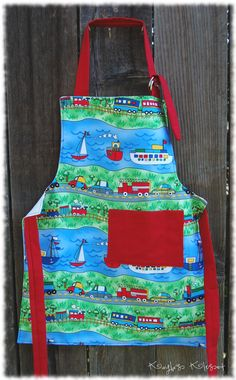 2 Cute by Land or Sea Boys Personalized Chef Apron. $15.00, via Etsy.