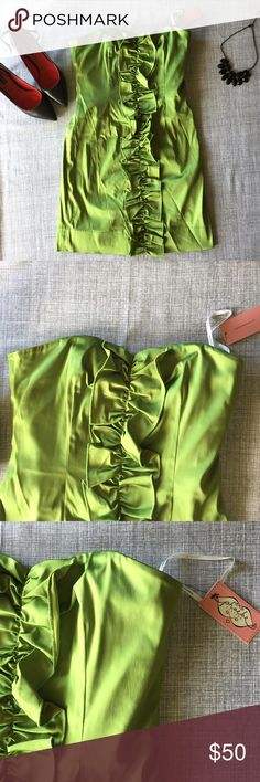 Chartreuse strapless dress with ruffles Coming soon! Phoebe Couture Dresses Mini