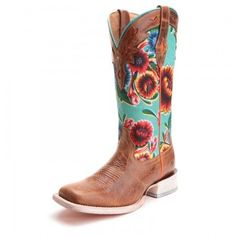 Ariat Womens Circuit Champion Floral Square Toe Cowboy Boots Brown & Turquoise