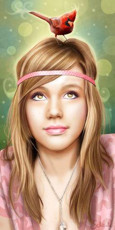 angelic girl with bird by *PinkBunnyLilli on deviantART