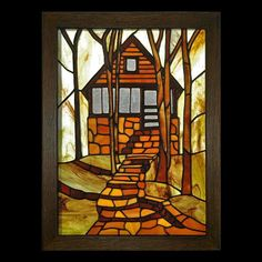 "2011 Small Panels 1st. Place ""My Brothers Cabin"" by Vicki (Reminds me of Big Pond!)"