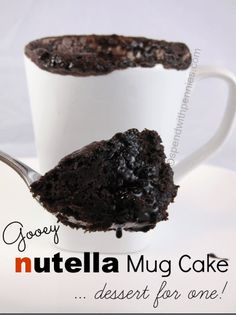 This recipe for Nutella Mug Cake is made in the microwave and one of the best mug cake recipes you'll find! It's the perfect sized snack for Nutella lovers! Best Mug Cake Recipes, Mug Recipes, Nutella Recipes, Dessert Recipes, Desserts, Steak Recipes, Nutella Snacks, Recipies, Nutella Mug Cake