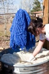 How to Dye Nylon: A hot bath of acid dye is used to dye wool yarn.