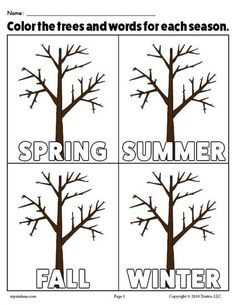 free printable 4 seasons coloring page activity draw color and decorate each of