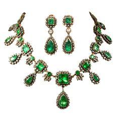 1stdibs | Very Rare Georgian Emerald and Diamond  Demi-Parure