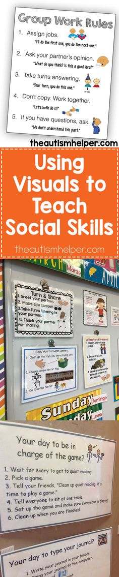 Visuals can be SO important when teaching social skills, so find out ways we incorporate them in your classroom on the blog!! From theautismhelper.com #theautismhelper