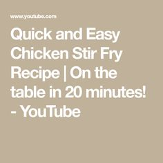 Quick and Easy Chicken Stir Fry Recipe | On the table in 20 minutes! - YouTube Easy Chicken Stir Fry, Veggie Stir Fry, Homemade Stir Fry Sauce, How To Boil Rice, Chicken Breast Fillet, Pepper Steak, Sugar Snap Peas, Sweet Chilli, Stir Fry Recipes