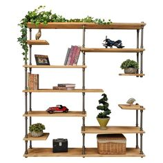 The asymmetrical etagere/bookcase design has multiple levels of large and small shelves perfect in form and function. Sleek and chic this open bookcase shows off your library plants decor items and cookware in style! It complements and adorns any room it is placed in be it the living room bedroom kitchen office or the study. The Nashville industrial yet mid-century design melds rustic beauty of fine-grain reclaimed finished sustainable solid Paulownia (lightest to strongest ratio wood…