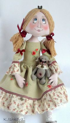 "Textile Art Cloth doll ""Where is my prince"" bear crochet. Made to order.. $78.00, via Etsy."