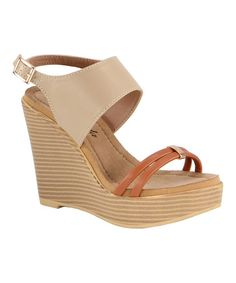 Another great find on #zulily! Camel & Sandstone Shakia Wedge Sandal #zulilyfinds