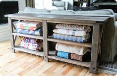 DIY console table for blankets, great for the living room