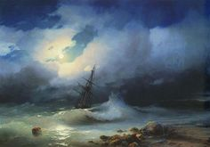 """Ivan Konstantinovich Aivazovsky - was a Russian Romantic painter who is considered one of the greatest masters of marine art. Stormy sea at night, No Wave, Russian Painting, Stormy Sea, Seascape Paintings, Love Painting, Canvas Art Prints, 19th Century, Concept Art, Waves"