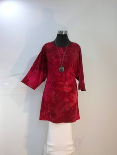 Plus size 4X red tie dye top with jewel neck and 3/4 sleeves in bamboo blend fabric. by qualicumclothworks on Etsy