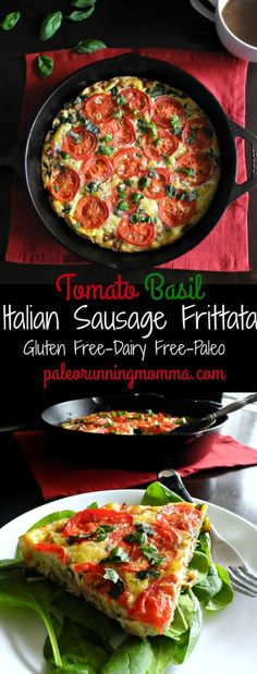 Tomato Basil Italian Sausage Frittata Sausage Tomato Basil Frittata Recipe {Paleo & Savory paleo breakfast or brunch idea made all in one pan. Great as a make ahead paleo breakfast. Paleo Frittata, Sausage Frittata, Frittata Recipes, Breakfast Casserole Sausage, Whole 30 Breakfast, Paleo Breakfast, Breakfast Recipes, Breakfast Hash, Breakfast Buffet