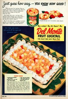 Rainbow Del Monte Fruit Cocktail Pudding recipe (1950). This looks so bad. I wonder if this is a Thanksgiving tradition in her family?