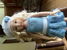 This is the outfit I just finished for Dianna Effner's Little Darling. This one is up eBay now! Lots of time goes into these little dresses and I love it!
