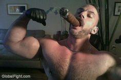 big cigar leather man