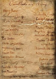 Dumbledore's Army..... Oh my gosh I just noticed that the tear in it separates Fred and George and Dennis and Collin... And they're both pairs of brothers that were separated at the final battle... Noooo :(