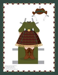Paper dolls by Julie Allen Matthews.  A country paper doll outfit for Mrs Claus paper doll.
