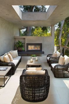 A partially covered outdoor lounge area