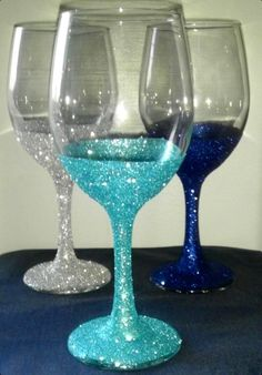 Sparkly wine glass maybe do a silver and gold not blue.
