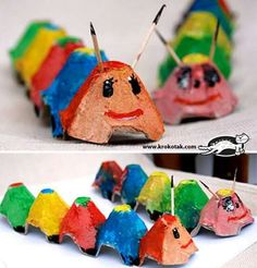 caterpillar from egg carton Kids Crafts, Toddler Crafts, Projects For Kids, Diy For Kids, Arts And Crafts, Creative Thinking, Creative Kids, Egg Carton Caterpillar, Egg Carton Crafts