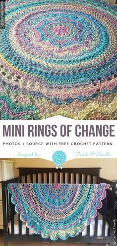 Crochet Afghans Patterns Mini Rings of Change Free Crochet Pattern Crochet Afghans, Crochet Baby Blanket Beginner, Tunisian Crochet, Crochet Blankets, Crochet Stitches, Crochet Square Patterns, Crochet Squares, Crochet Designs, Free Crochet Blanket Patterns
