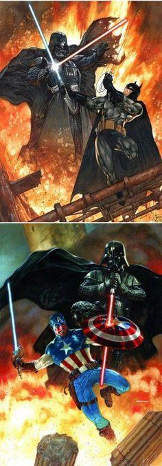 Superhero Lightsaber Duels (Darth Vader vs Batman and Captain America)
