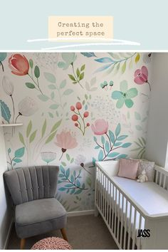 Leanne's Nursery featuring the Botanical Floral Variance Wall Mural Floral Wall, Floral Motif, Beautiful Wall, Spring Flowers, Floral Watercolor, Your Space, Green Colors, Wall Murals, Nursery