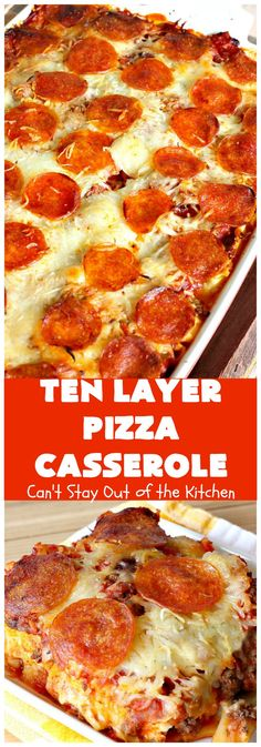 Ten Layer Pizza Casserole Can t Stay Out of the Kitchen This fantastic tastes like eating or It s filled with Cheese amp amped up Our company raved over this Pizza Casserole, Casserole Dishes, Casserole Recipes, Pizza Spaghetti Casserole, Casserole Kitchen, Spaghetti Pizza, Spaghetti Sauce, Pizza Recipes, Beef Recipes