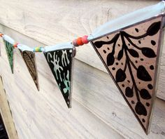 Stained Glass Bunting, Fresh Spring Colours Dusky Pink and Aqua  £35.00