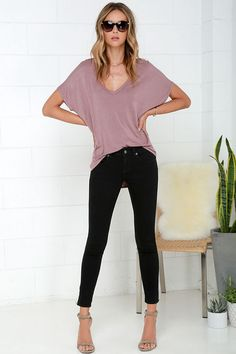 RVCA Lately Black Ankle Skinny Jeans