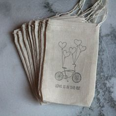 Items similar to Bicycle favor bags, muslin, Set of Bike with basket, green. Rustic gift or favor bag. on Etsy Bike Decorations, Muslin Bags, Wedding Favor Bags, Birthday Numbers, Wedding Inspiration, Wedding Ideas, Cool Cards, Gift Bags, Cute Gifts
