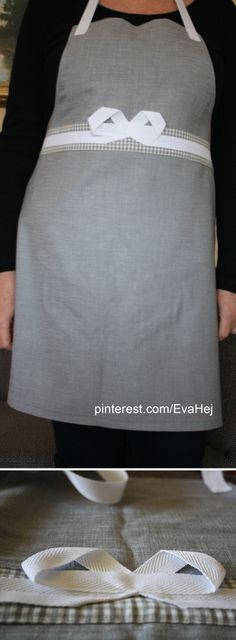 Classy apron with checkers and ribbon bow detail