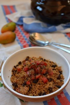 Oat Cous Cous with Vanilla Scented Chickpeas and Tomatoes in a  Raz-el-Hanout Marinade