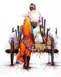 Back Home by Siva Balan Village Scene Drawing, Art Village, India Painting, Painting Art, Farmer Painting, Art Sketches, Art Drawings, India Art, India India