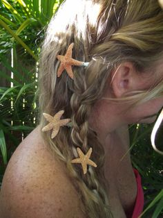 Nautical Starfish and Sea Shell Hair Clips by Palmbeachcreations, $3.50 Check me out on ETSY!!!!!