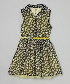 Black Daisy Belted Button-Up Dress by Beautees #zulily #zulilyfinds