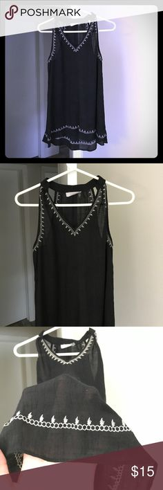 See-through sleeveless black blouse The thin fabric makes it perfect for the summer. There's nothing better to be able to wear black in the summer and still stay cool. Tag said size L, I think it's more of a M or loose for S. Only used 2 - 3 times. This item is in excellent condition. By purchasing this item you will be helping me reach my goal to help cover urgent medical bills for my mother. For more info and to donate please visit…