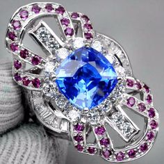 Vintage Art Nouveau 3.73CT Tanzanite Blue Cushion Cut Quartz with White Sapphire and Red Ruby Accent Ring Size 6.75