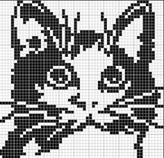 New Crochet Cat Face Cross Stitch Ideas Filet Crochet Charts, Knitting Charts, Cross Stitch Charts, Knitting Stitches, Cross Stitch Designs, Cross Stitch Patterns, Knitting Patterns, Cross Stitching, Cross Stitch Embroidery