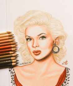 Pencil drawing of Jayne Mansfield by Kathy Siney