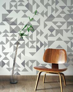 I am in the market for some fun wallpaper for one accent wall in our kitchen. In the midst of my exhaustive search, I came across this amazing geometric, embroidered wallpaper. Interior Wallpaper, Interior Walls, Wall Wallpaper, Interior And Exterior, Interior Design, Bamboo Wallpaper, Geometric Wall Art, Geometric Wallpaper, Geometric Shapes
