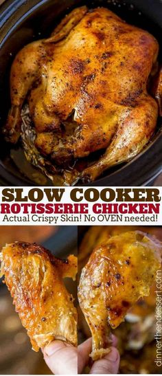 Slow Cooker Rotisserie Chicken made with just a few spices and in the slow cooker with CRISPY skin without a second spent in the oven slowcooker rotisseriechicken recipe chicken Slow Cooking, Slow Cooked Meals, Crock Pot Slow Cooker, Slow Cooker Recipes, Crockpot Recipes, Cooking Recipes, Crockpot Whole Chicken Recipes, While Chicken In Crockpot, Slow Cook Whole Chicken